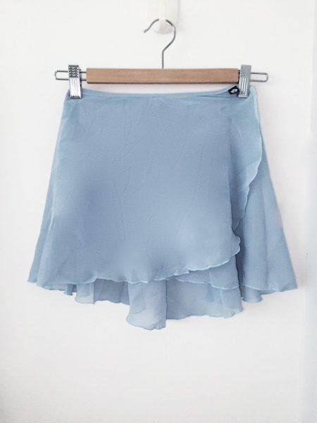 light blue classic flare wrap skirt