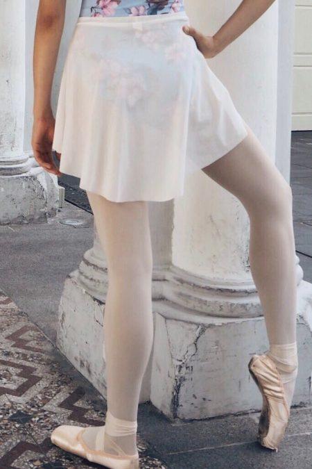 Short white mesh skirt